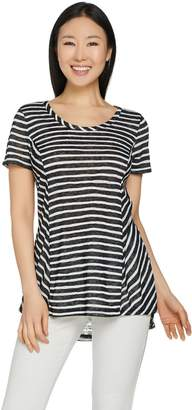 Lisa Rinna Collection Sheer Striped Knit Top