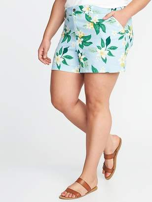 """Old Navy Mid-Rise Plus-Size Everyday Linen-Blend Shorts (5"""")"""