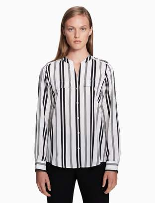 Calvin Klein mandarin collar grid roll-up sleeve top