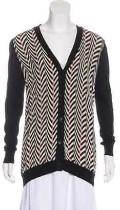 Lanvin Silk-Paneled V-Neck Cardigan