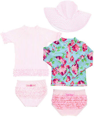 RuffleButts Life is Rosy Seersucker 5-Piece Swim Layette Set, Size 2-8