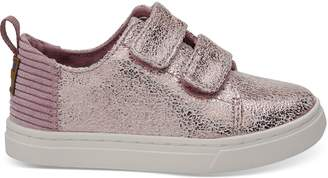 Lavender Crackle Foil Corduroy Tiny TOMS Lenny Sneakers