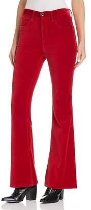 Rag & Bone Bella Flared Velvet Jeans in Red