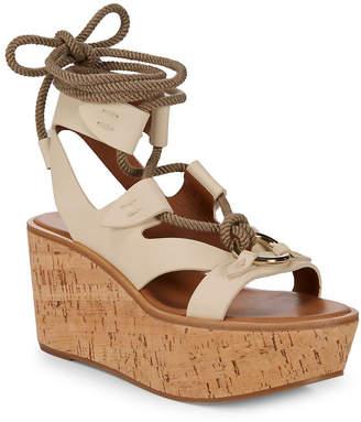 Frye Dahlia Rope Leather Wedge Sandal