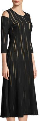 Oscar de la Renta Tea-Length Tulle Dress with Cut Out Shoulders