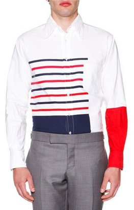 Thom Browne Painted Stripe Oxford, Red/Blue $790 thestylecure.com