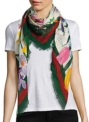 Gucci Women's Floral Web Wool & Silk Scarf