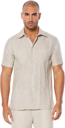 Cubavera Slim Fit 100% Linen Short Sleeve Tucks 2 Pocket Shirt