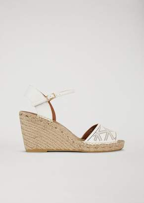 Emporio Armani Sandals With Straw Wedge