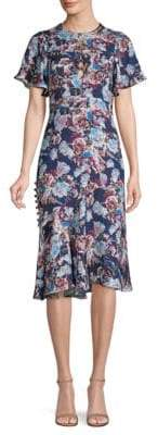 Prabal Gurung Floral Charmeuse Flutter Sleeve Dress