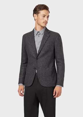 Giorgio Armani Regular-Fit Upton Range Deconstructed Jacket In Tweed