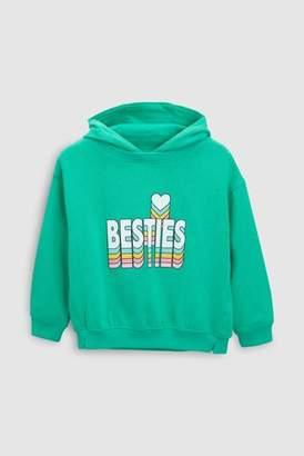 Next Girls Green Slogan Hoody (3-16yrs)