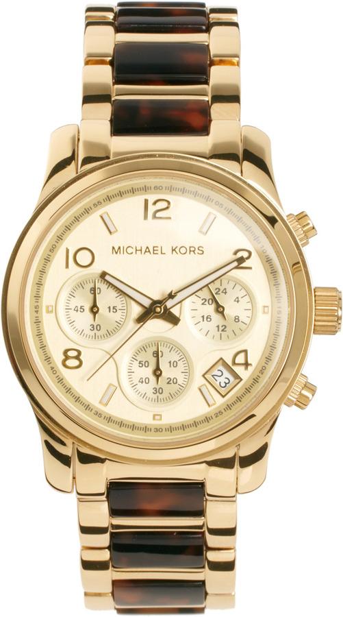 Michael Kors Tortoiseshell & Gold Chronograph Watch