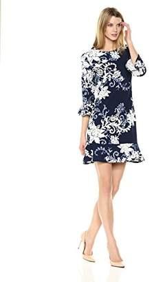 Sandra Darren Women's 1 Pc 3/4 Sleeve Printed Knit Puff Sheath Dress
