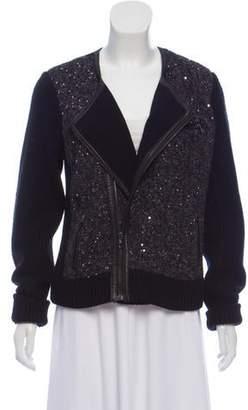 Rag & Bone Sequin Embellished Leather Trim Jacket