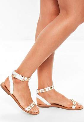 Missguided White Two Strap Gold Trim Flat Sandals