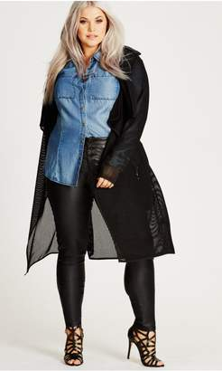 City Chic Citychic Black Caught Out Trench
