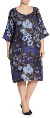 Marina Rinaldi, Plus Size Plus Voyage Delicato Silk Floral Bell-Sleeve Dress