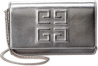 Givenchy Emblem Metallic Leather Wallet On Chain