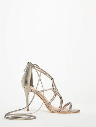 Halston Brielle Metallic Leather Strappy Heels