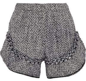 Nicholas Ruffle-Trimmed Frayed Tweed Shorts