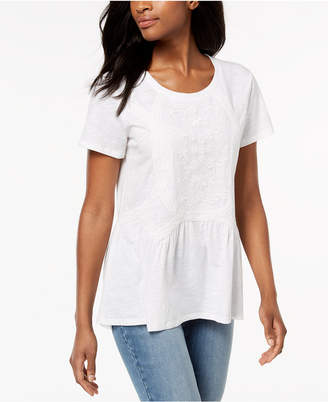 Style&Co. Style & Co Embroidered Mesh Top, Created for Macy's