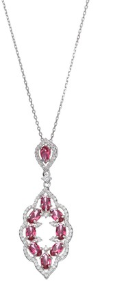 Sterling Silver Simulated Pink Sapphire & Cubic Zirconia Scalloped Pendant
