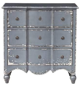 HomeFare Traditional Heavily Distressed Hand Painted Light Blue Three Drawer Accent Storage Chest