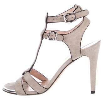Stuart Weitzman Suede Mid-Heel Sandals
