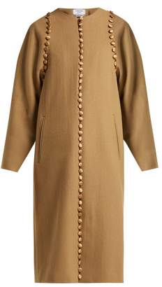 Thom Browne Button Embellished Wool Coat - Womens - Light Brown