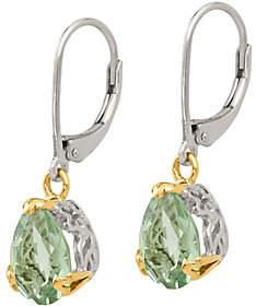 QVC Sterling & 14K 3.60 cttw Green Quartz Earrings