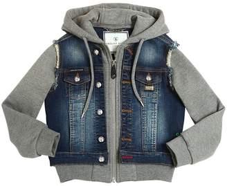 Philipp Plein Junior Denim & Cotton Hooded Sweatshirt