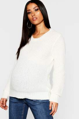 boohoo Maternity Crew Neck Knitted Jumper