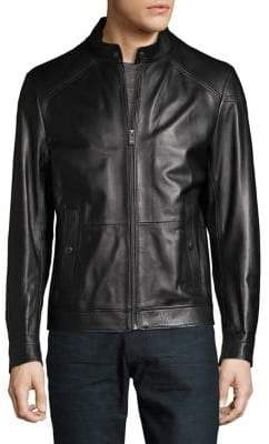 HUGO BOSS Snap-Collar Leather Jacket