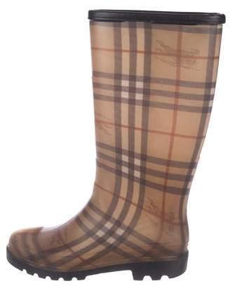 Burberry Rubber Nova Check Mid-Calf Boots