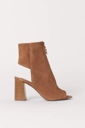 H&M Open Suede Ankle Boots - Beige