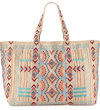 Johnny Was Sonoma Cotton Canvas Embroidered Tote Bag