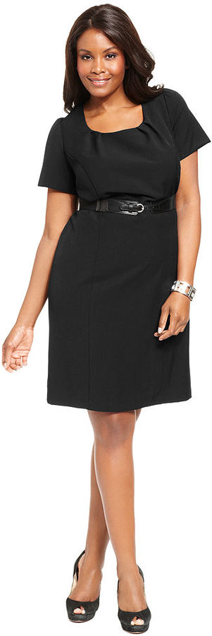 Amy Byer Plus Size Dress, Short-Sleeve Belted Sheath