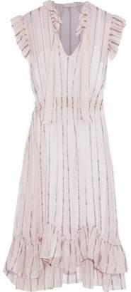 Sandro Maki Striped Silk-Blend Organza Midi Dress