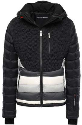Perfect Moment Matelasse And Quilted Striped Shell Hooded Down Jacket