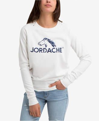 Jordache Juniors' Madison Distressed Logo Graphic Sweatshirt