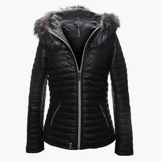 Oakwood Happy Luxe Black Leather Fur Trim Hooded Jacket