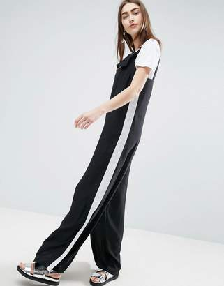 Asos Minimal Wide Leg Jumpsuit With Side Stripe And Splits