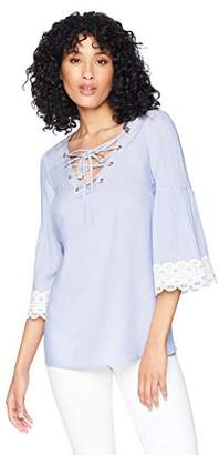Romantic Dreamers Womens Lace up V-Neck Crochet Trimed Ruffle 3/4 Sleeve Woven Stripe Top