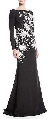 Naeem Khan Nk32 Floral Long-Sleeve Trumpet Gown