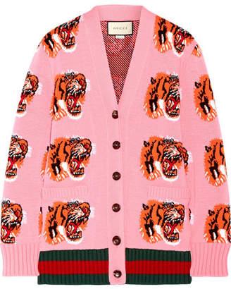 Gucci Intarsia Wool Cardigan - Bubblegum