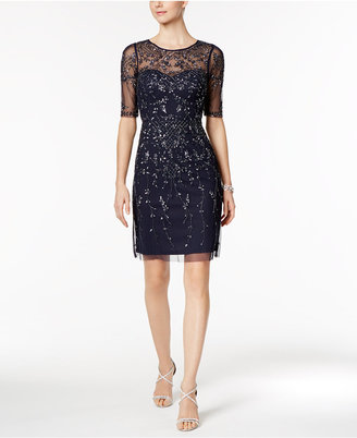 Adrianna Papell Short-Sleeve Beaded Dress $299 thestylecure.com