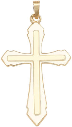 FINE JEWELRY 14K Yellow Gold Polished Double Cross Charm Pendant