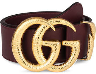 Gucci Smooth Leather Belt w/ Double G Buckle