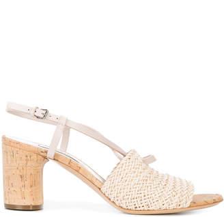 Casadei woven cork-heel sandals